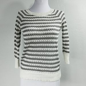 Caslon Open knit sweater with stripes
